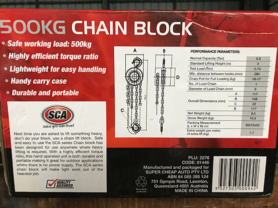 Chain Block 500Kg carton detail