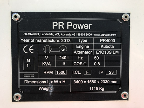 lighting tower with genset details