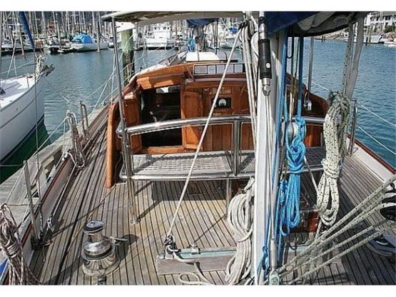 pilothouse ketch yacht on deck